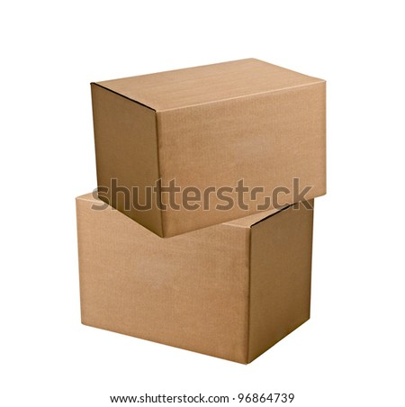 two shipping boxes isolated on white background