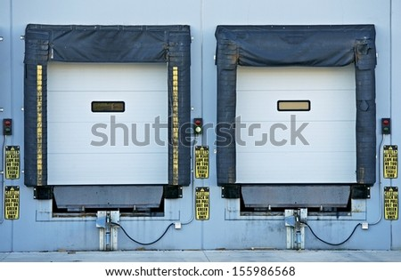 Two Shipping Gates for Trucks. Industrial Collection. - stock photo