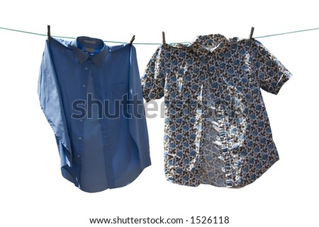 two shirts on a cloths line