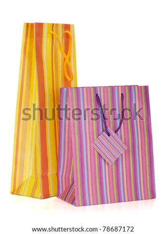 Two shopping bags. Isolated on white background