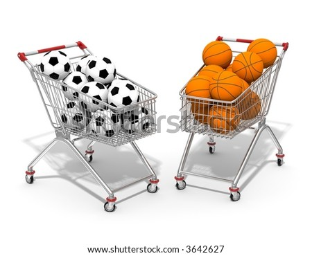 Two shopping cart filled by football and basketball ball - stock photo