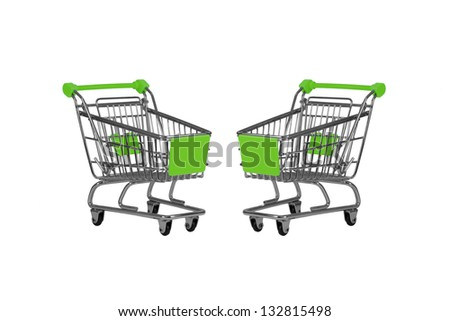 Two shopping carts observing isolated over white