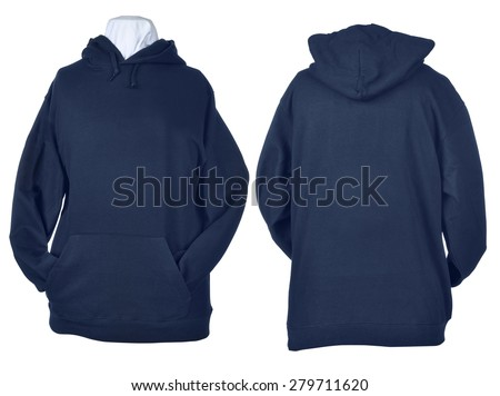 Two side of wrinkled blank blue shirts, long sleeve shirt, golf shirt, V-neck and hoodie. Clipping path included. Ready for your design or logo. - stock photo