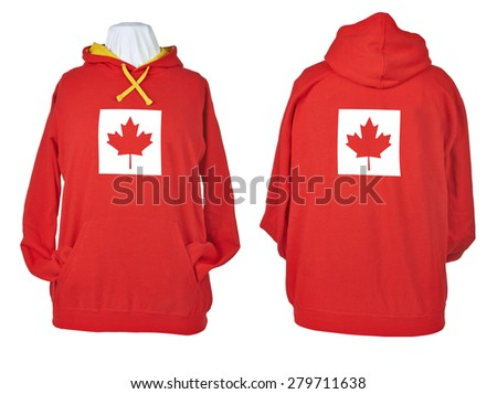 Two side of wrinkled flagged Red shirts, long sleeve shirt, golf shirt, V-neck and hoodie. Clipping path included. Canada flag - stock photo