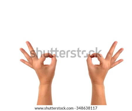 Two side symbol of man hands isolated on white background.