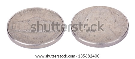 Two sides of a USA 5 cents (nickel) coin isolated on white background. - stock photo
