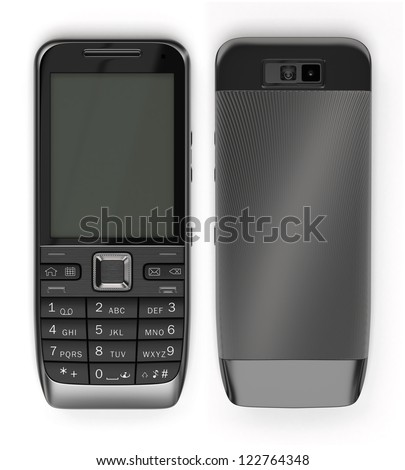 Two sides of black cell phone - stock photo