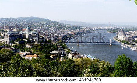 Two sides of Danube river at Budapest - stock photo