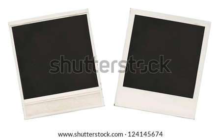 Two sides of the old empty frames isolated over white - stock photo