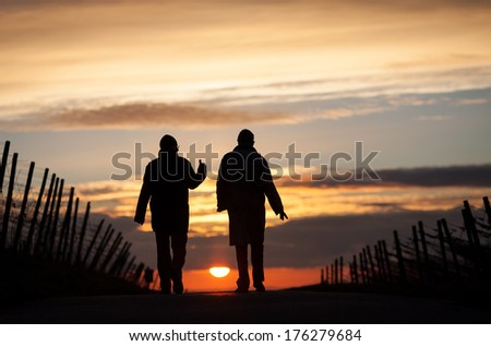 two silhouetted seniors walking in sunset  - stock photo