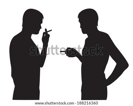 Two silhouettes of smoking men on a white background  - stock photo