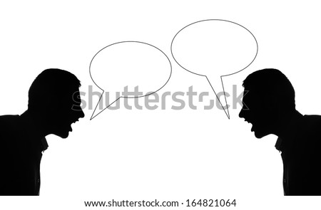 Two silhuette man quarrel each othet, bubble text - stock photo