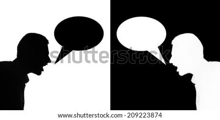 Two silhuette man quarrel each othet, bubble text - stock photo