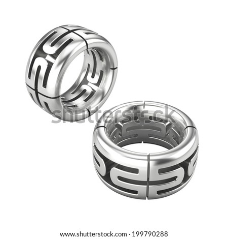 Two Silver rings isolated on white  - stock photo