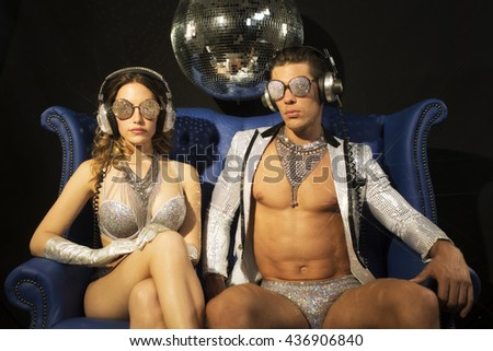 Two silver sexy disco characters - stock photo