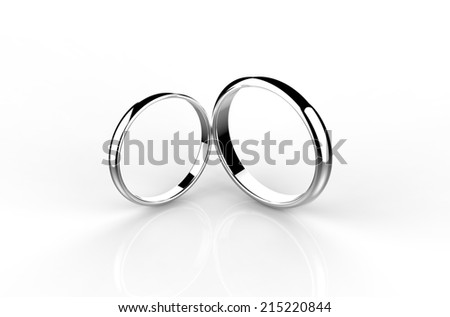 two silver wedding rings - stock photo
