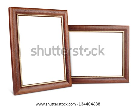 Two simple wooden picture frames isolated on white with clipping path - stock photo