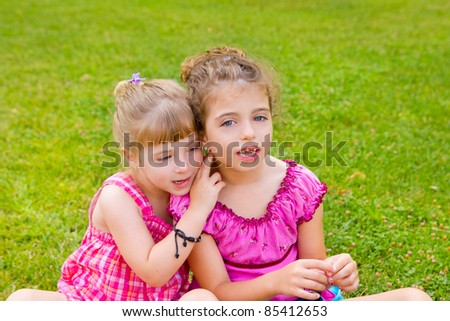two sister children girls happy in the grass park