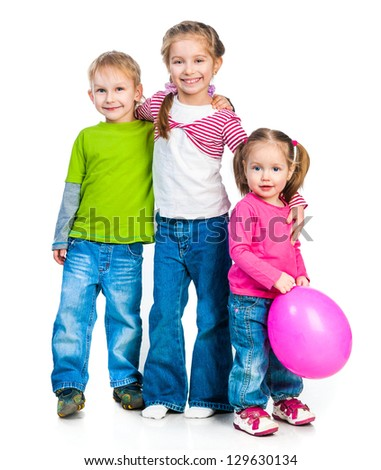 Two sisters and his  brother isolated over white - stock photo