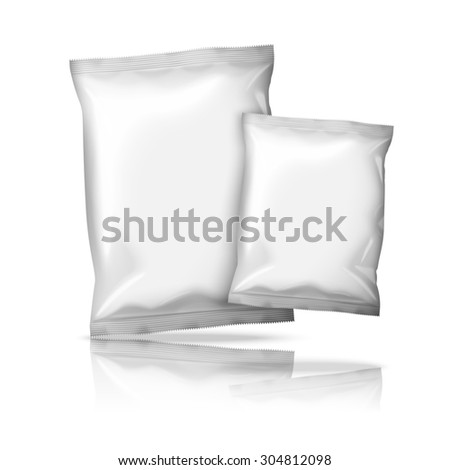 Two sizes of blank white realistic foil snack packs isolated on white background with reflection and place for your design and branding.