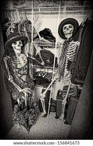 Two skeletons enjoying themselves in someone's closet.
