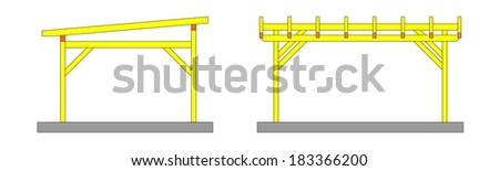 Two sketches yellow wooden pergolas with no covering - illustration - stock photo