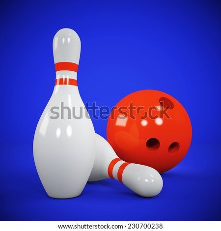 Two skittles and bowling ball on blue - stock photo
