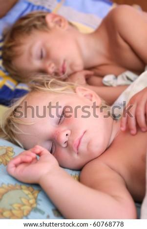 two sleeping kids - stock photo