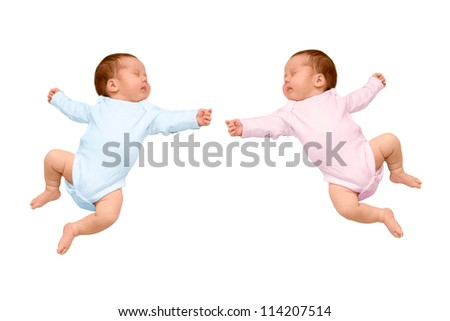 Two sleeping newborn baby identical twins, a boy and girl, brother and sister. One kid wearing a pink body, a second baby in a blue body, ready for your logo or symbol.. Isolated on white background - stock photo
