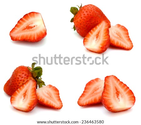 Two sliced strawberries isolated on white  - stock photo