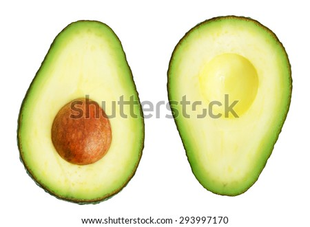 Two slices of avocado isolated on the white background. One slice with core. Design element for product label. - stock photo