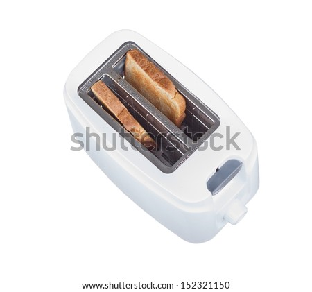 Two slices of bread cooked in toaster isolated on white background.