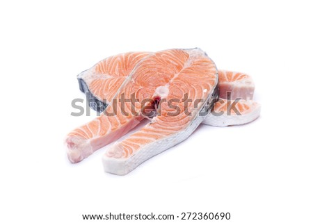 two slices of fresh salmon, fish rich in omega 3 - stock photo