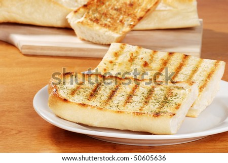 two slices of garlic bread