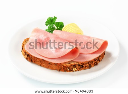 Two slices of ham on bread