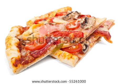 two slices of meat and vegetables pizza