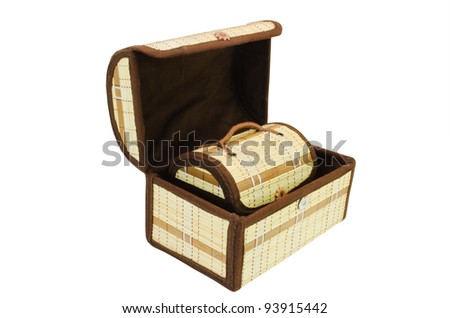 Two small chests of handwork  made by a basket  weaving method on a white background