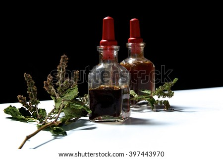 Two small eye dropper bottles with herbal extract essential oils and branch of dried patchouli leaves and flowers. Oils are patchouli and rosemary.