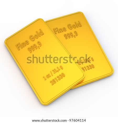 two small gold bars with the weight of 1 ounce - stock photo
