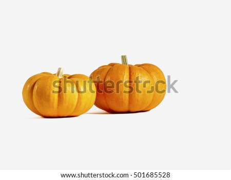 Two small pumpkins isolated on white