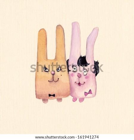 Two small rabbits - stock photo