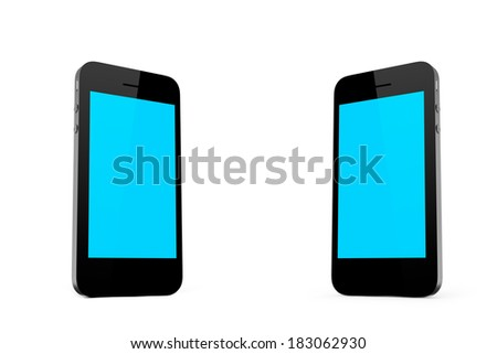 Two smart phones standing with blank empty blue screen, isolated on white background.