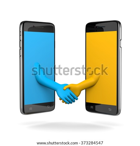 Two Smartphone Shaking Hands 3D Illustration on White Background