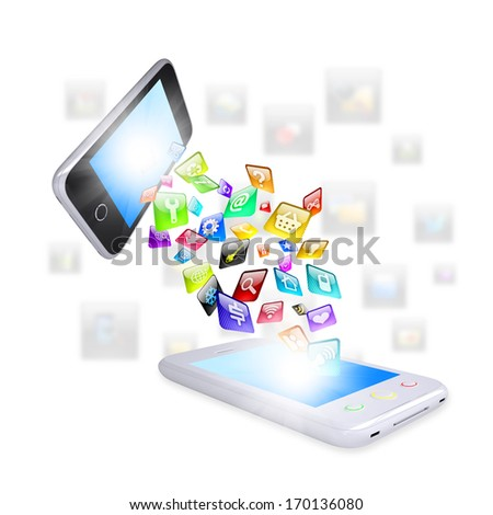 Two smartphone share content. The concept of network technologies - stock photo