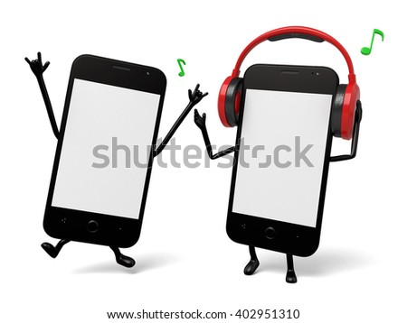 Two smartphones are listening to the music