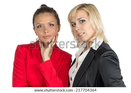 Two smiling business woman looking at camera