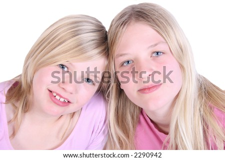 Two smiling kids - stock photo