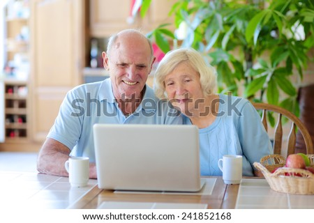 Two smiling people, active senior couple, enjoying modern technology using laptop computer with wireless internet at home - stock photo