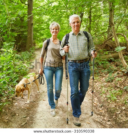Two smiling seniors walking with their dog in a forest in summer - stock photo