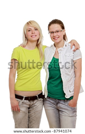 Two smilling girls isolated on white background
